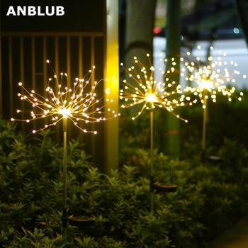 1pcs Outdoor LED Solar Fireworks Lights 90/150 LEDs Waterproof String Fairy Light For Home Garden Street Christmas Decoration