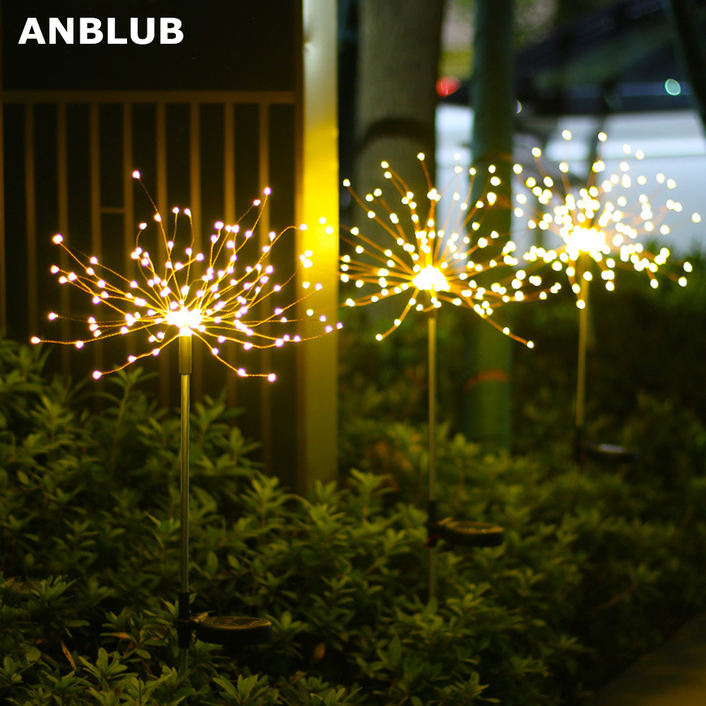 Outdoor LED Solar Fireworks Lights 90/150 LEDs Waterproof Flash String Light For Lawn Garden Patio Christmas Holiday Decoration