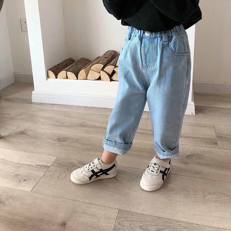 3345 Children's One Button Jeans Fashion Boys' And Girls' Spring Pants Korean Casual Dad Pants 2020 Spring New