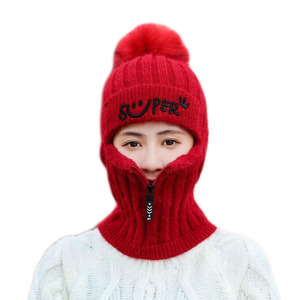 Image 2 - 2pcs Knit Beanie Hat and Scarf Set Hairball Pompom Hats Female Thick Hat Winter Warm Cute Girls Fashion Letter Smiley Zipper hat