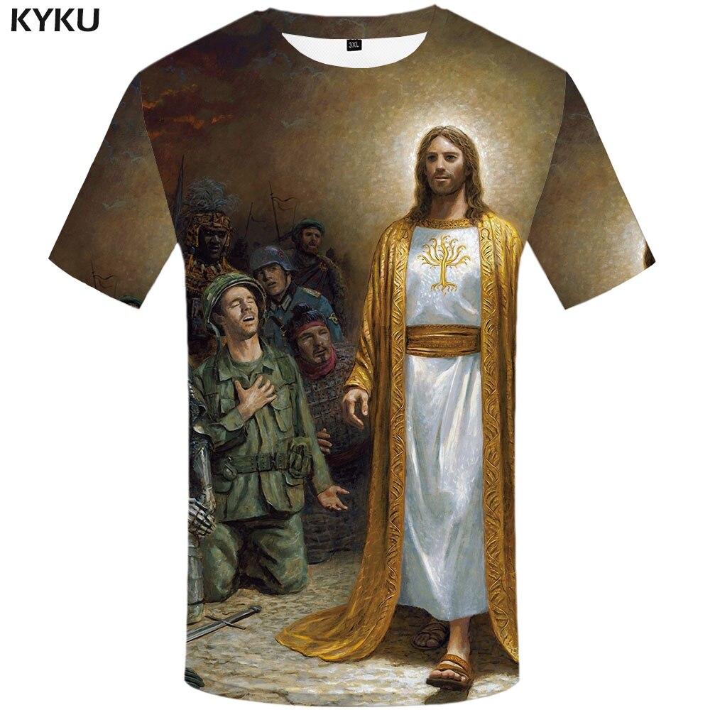 KYKU Jesus T-shirt Men War Anime Clothes Military Tshirts Casual Personality Tshirt Printed Personality T-shirts 3d
