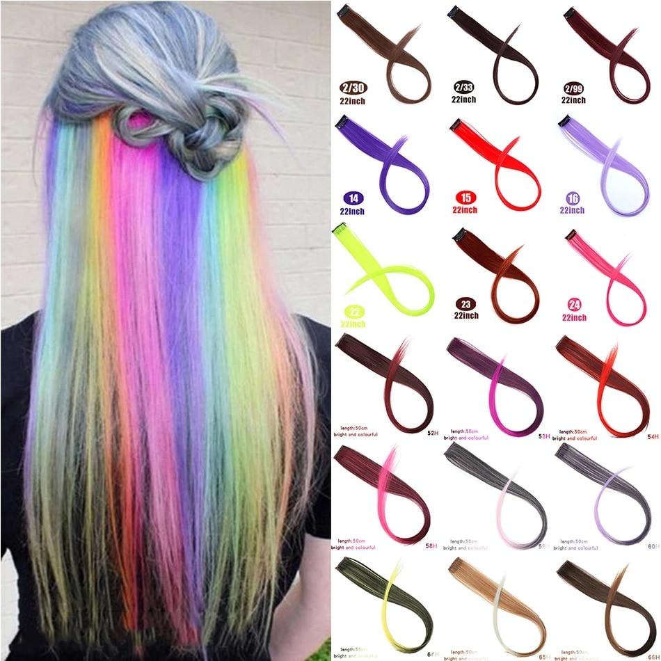 MUMUPI длинные прямые цветные волосы для наращивания на заколках, яркие радужные волосы, розовые синтетические пряди волос на заколках наклад...