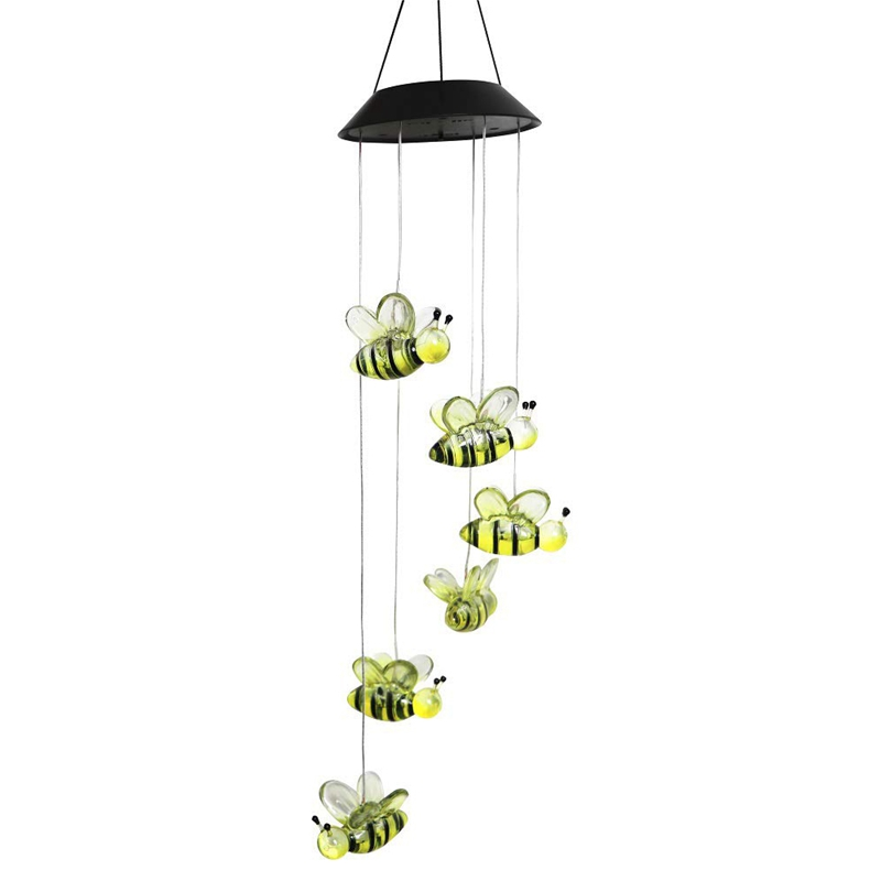 ABUI-Solar Bee Wind Chimes, Color-Changing Moving Rotating Wind Chime Waterproof Automatic Light Sensor Outdoor Decor For Home P