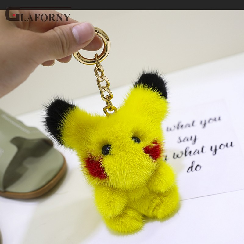 2019 Glaforny porte-clés importé vison cheveux détective Pikachu en peluche jouet pendentif sac ornement mignon feutre voiture porte-clés