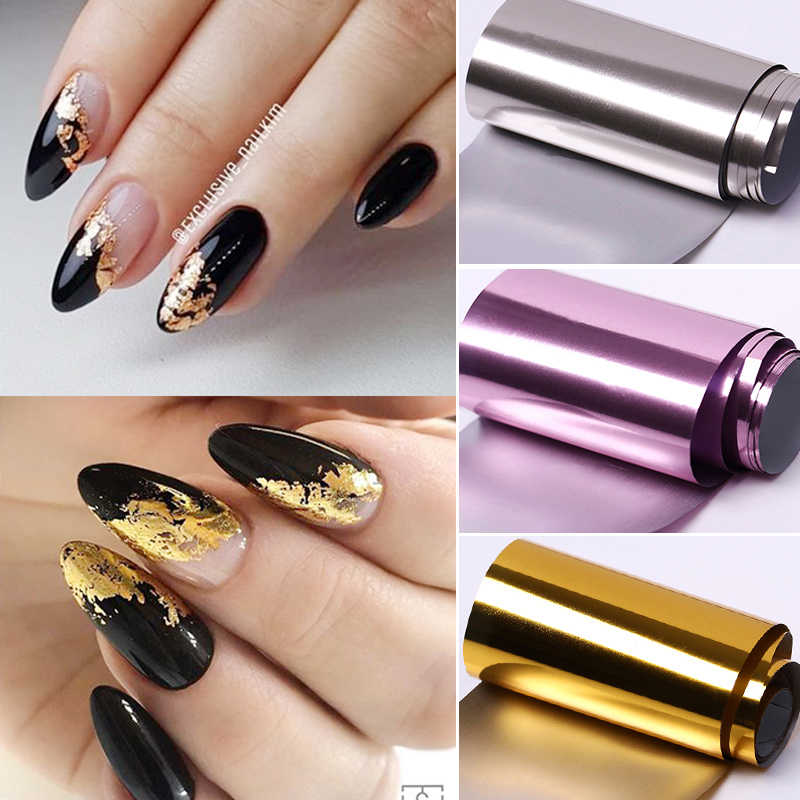 1 Roll Roze Gold Sliver Nail Folies Sparkly Sky Glitter Nail Art Transfer Stickers Slider Papier Nail Art Manicure Decoratie nieuwe
