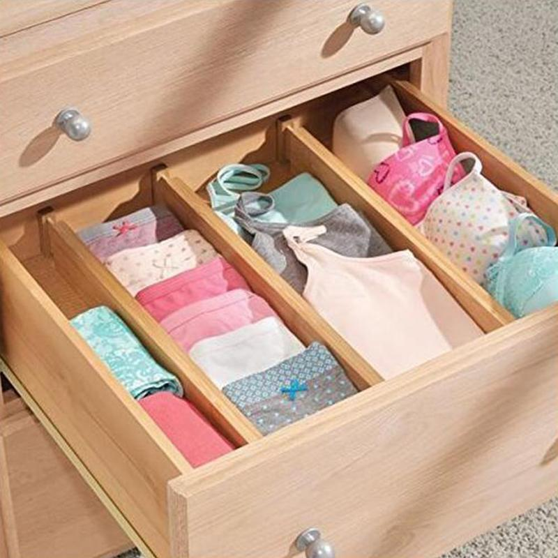 Bathroom Bedroom Dresser 4 pcs Bamboo Kitchen Drawer Organizers Spring Adjustable /& Expendable Drawer Dividers for Kitchen Baby Drawer Desk
