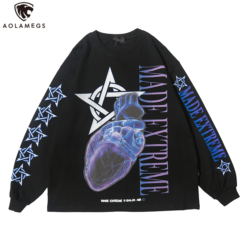 Aolamegs Sweatshirt Punk Cool Printed Pullover Casual 2 Color Optional All-match High Street Style Streetwear Couple Autumn
