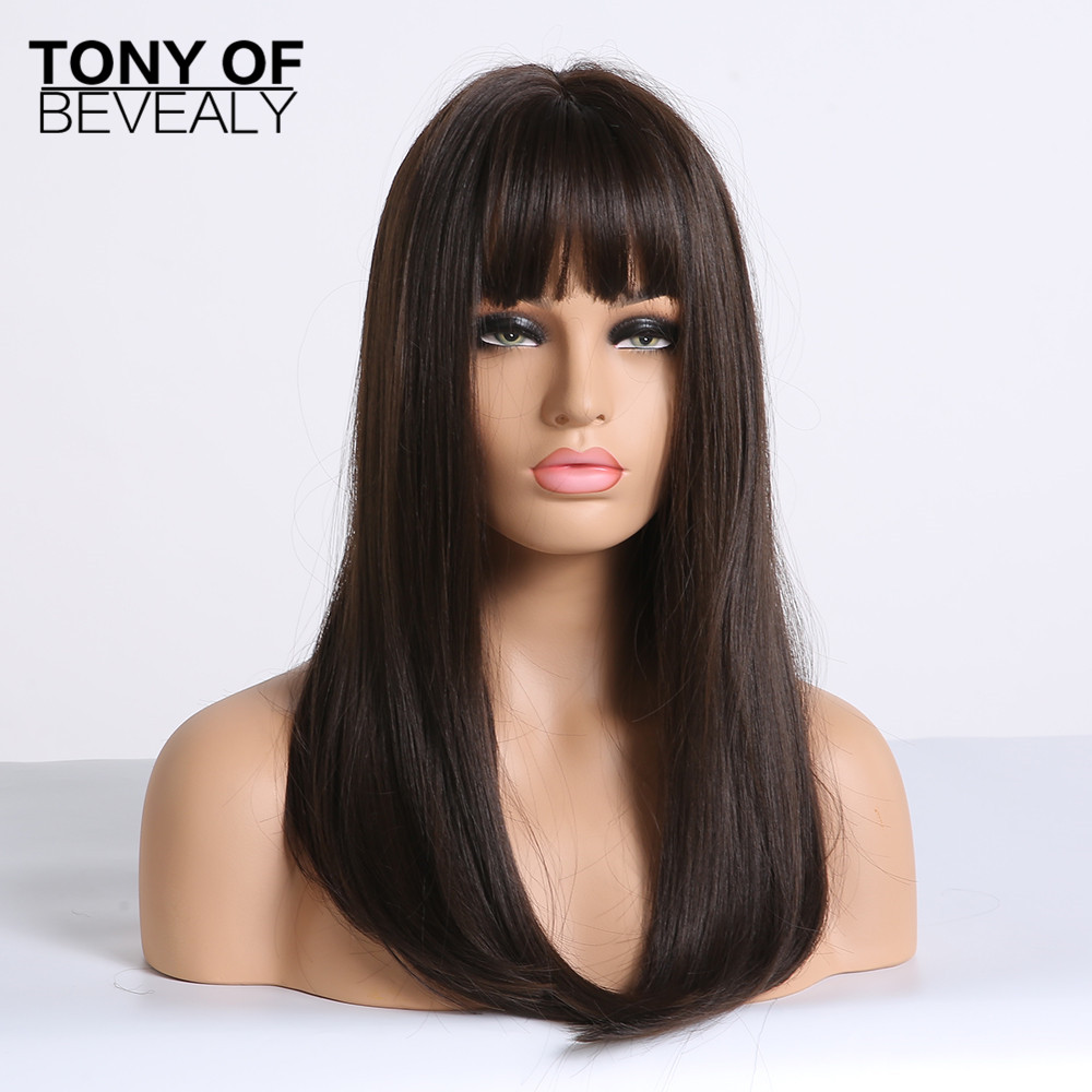 Image 4 - Long Straight Black to Beige Ombre Synthetic Wigs With Bangs For Women Natural Daily Party Hair Wigs Heat Resistant FiberSynthetic None-Lace  Wigs   -