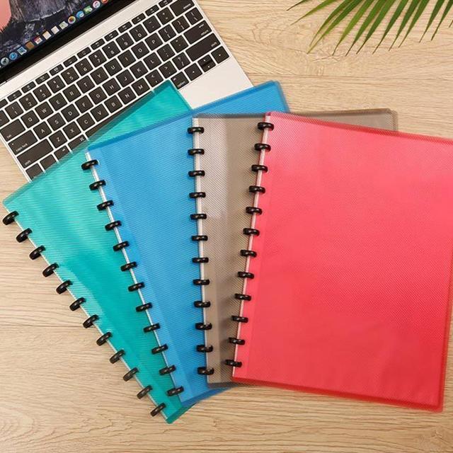 1Pc 12Holes 10 Sheets Plastic Clip File Folder Transparent Notebook Loose Leaf Ring Binder Planner Agenda School Office Supplies