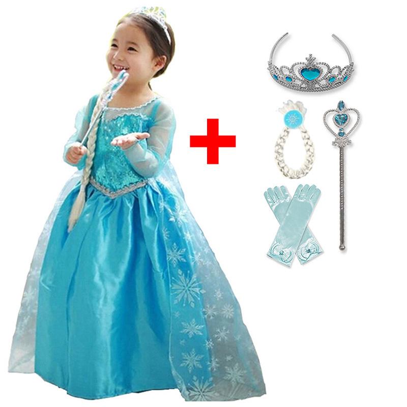 Baby Girl Anna Elsa Princess Dress for Girls Childen Clothing Fancy Cosplay Elza Costume Carnival Party Children Birthday Dress(China)