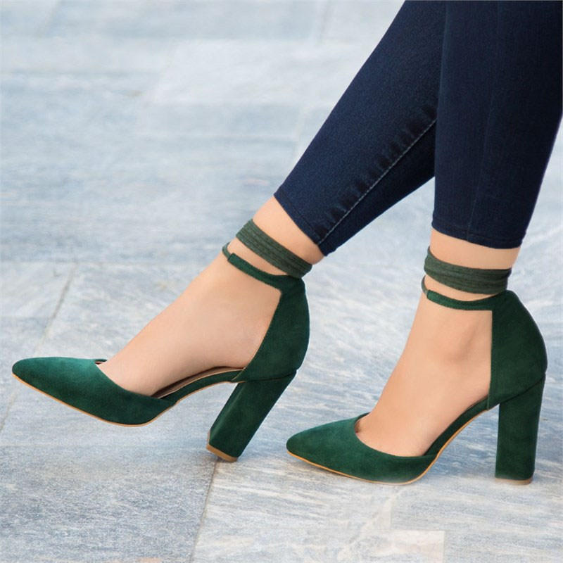 Mst-005 Green Suede Super High Thin Heels Women's Pumps Woman Pumps Ladies Pointed Toe High Heels Dress Party