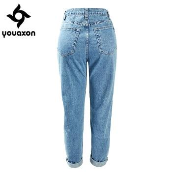 1886 Youaxon 100% Cotton Vintage High Waist Mom Jeans Women`s Blue Black Denim Pants Boyfriend Jean Femme For Women Jeans 1