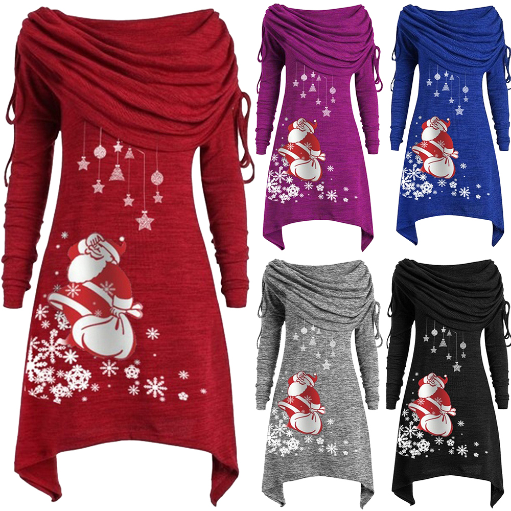 Womens Christmas Decorations Polyester Casual Sundress