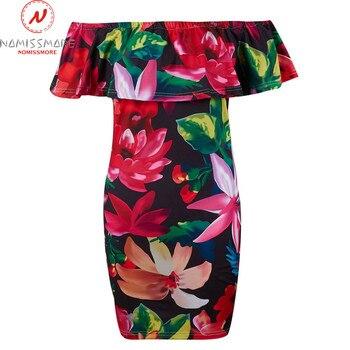 Women Bodycon Dress Patchwork Design Off Shoulder Short Sleeve Flower Print Mini Dress Lady Summer Slim Party Streetwear Dress 3