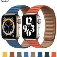 Leder Link für Apple uhr band 44mm 40mm 38mm 42mm 1:1 Original watchabnd Magnetische Schleife armband iWatch seires 5 4 SE 6 strap