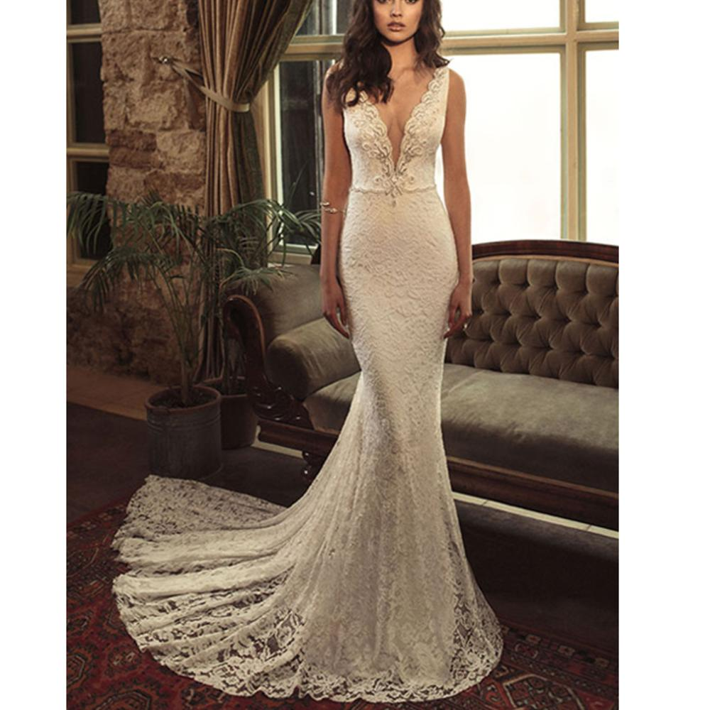 Trend-worthy Lace Backless Sequins Beading Sheath Sweep Train Dropped  Modern Dress Wedding Custom-made Vestido De Casamento