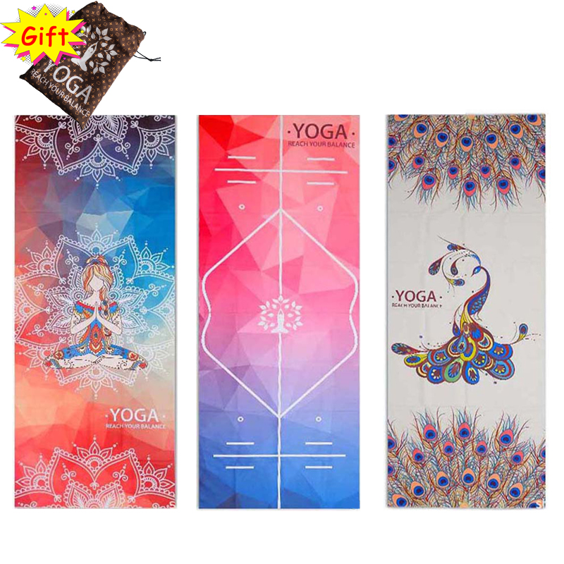Printed Portable Yoga Towel Pilates Fitness Anti Skid Yoga Mat Covers With Non-slip Glue Dot Outdoor Gym Meditation Blanket