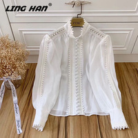 LINGHAN High Quality Silk Cotton Shirt Women's fashion Lantern Sleeve Single Breasted Hollow out Blouse Shirt Designer New