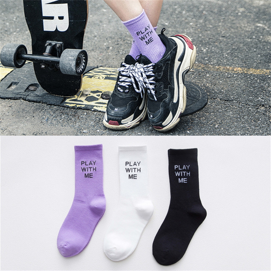 Hip Hop Letter Socks Men Women Cartoon Socks Black White Purple Socks Fashion Street Sports Skateboard