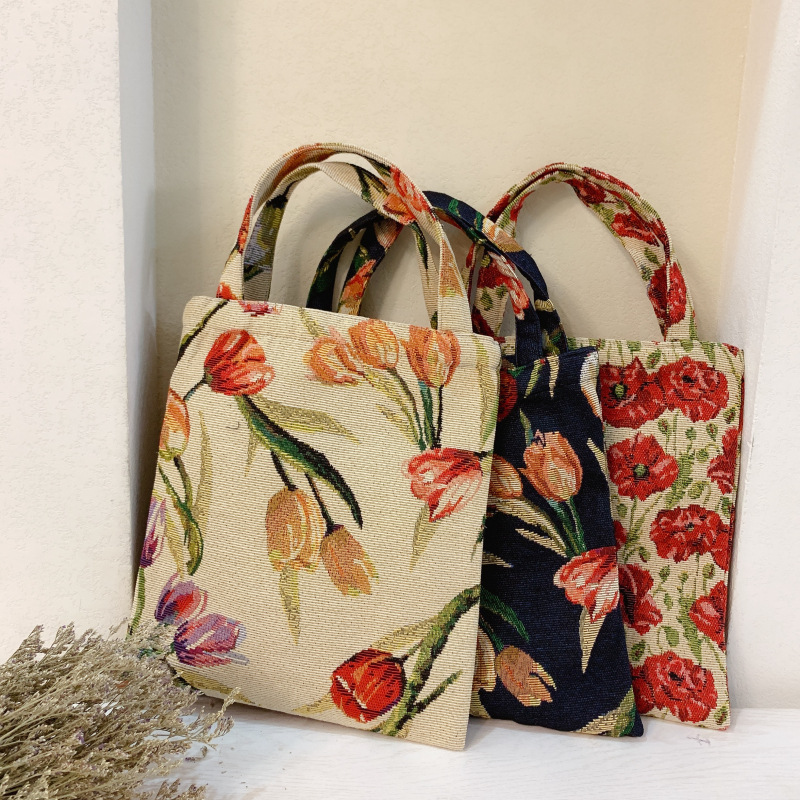 Fashion Retro Oil Painting Color Matching Tulip Jacquard Carry Lunch Bag To Work Small Cloth Hand Women's Shoulder