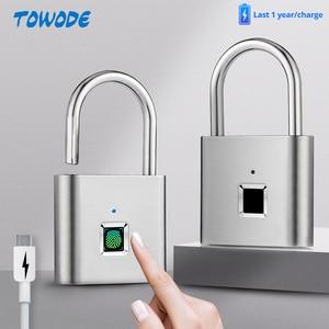 Towode 2pcs Smart Fingerprint Unlocking Padlock USB Rechargeable Keyless House Door Lock Flash Unlock Developing Chip