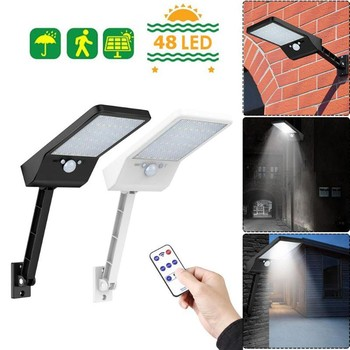 Upgraded 48LEDs 60LEDs Rotable Solar Light PIR Motion Sensor IP65 Outdoor Wall Street Waterproof Lamp With Remote Control