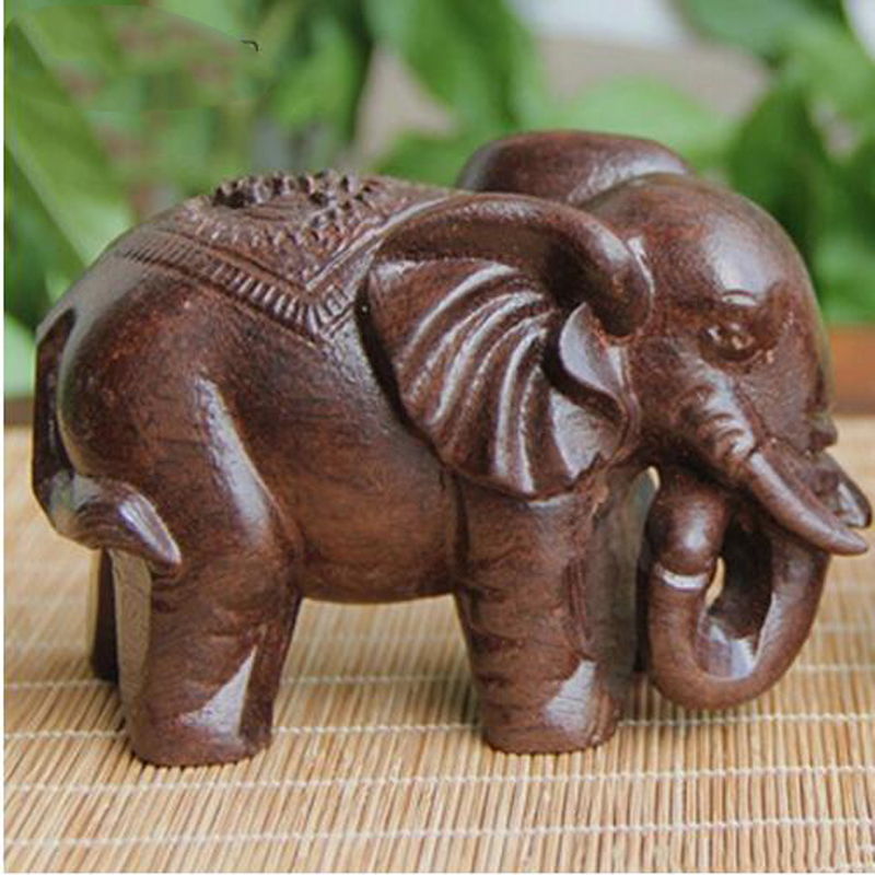 1Pc Black Agarwood Elephant Crafts Mini Wooden Animal Figurines Ornament Home Fengshui Lucky Natural Carved Wood