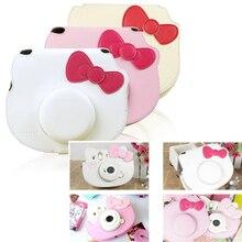 ¡Nuevo! Funda protectora para cámara Fujifilm Instax Mini Hello Kitty, funda protectora de piel sintética con lazo, bolsos de mano Mini Cámara de película instantánea
