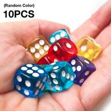 10 шт./компл. набор прозрачных игральных костей для настольных игр, 16 мм, случайный цвет, товары для вечерние, цифровые кости, оптовая продажа