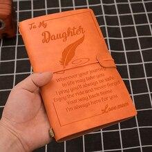 Dostosowane dziennik ze skóry grawerowane Emboss prezent dla syna córka tata mama pamiętnik tydzień Planner Agenda DIY urodziny prezenty