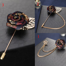 Vintage Rose Flower Metal Brooch Tassel Chain Men Suit Collar Brooch Lapel Pins Fashion Elegant Brooches High Quality Unisex(China)
