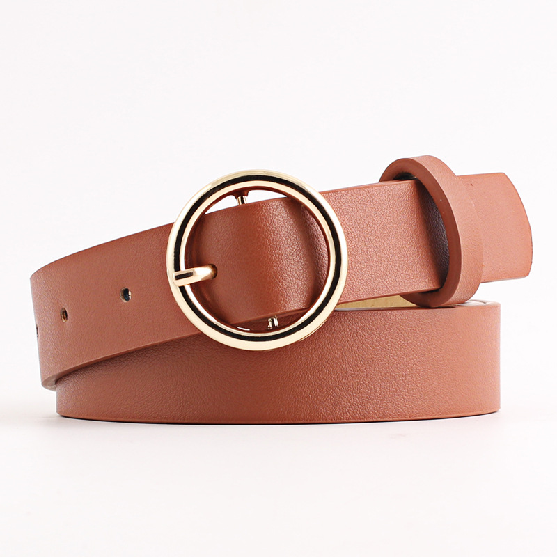 Female Deduction Side Gold Buckle Jeans Wild Belts For Women Fashion Students Simple New Circle Pin Buckles Belt