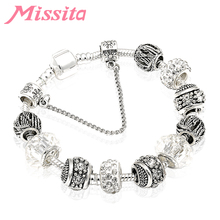MISSITA CHIC Charm Bracelet with Clear Crystal Ball Carved Beads Bangle for Women Jewelry Brand Anniversary Gift цены онлайн