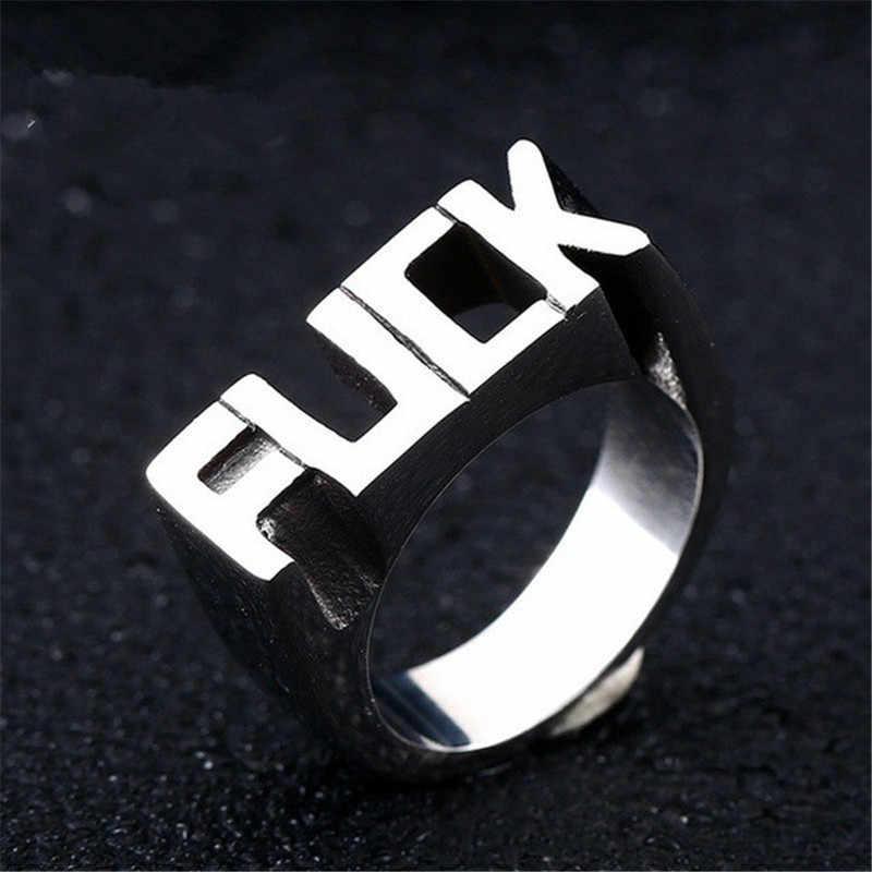 ที่ดีที่สุดขายใหม่ Punk Style แหวนยุโรปอเมริกันและผู้ชายผู้หญิงตัวอักษรภาษาอังกฤษสำหรับค็อกเทล Size6-14