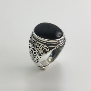 Image 1 - אמיתי 925 כסף שחור גרנט S925 טבעת לגברים נשי חקוק פרח קלאסי פתוח גודל טבעת סטרלינג תאילנדי תכשיטי כסף