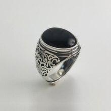 Anillo plata de primera ley granate negro para hombre y mujer, sortija abierta, plata esterlina 925, estilo clásico, flor grabada, estilo tailandés