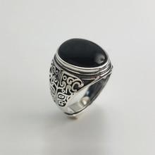 Prawdziwe 925 srebrny czarny granat S925 pierścień dla mężczyzn kobieta grawerowane kwiat klasyczny otwarty rozmiar pierścień Sterling Thai biżuteria srebrna
