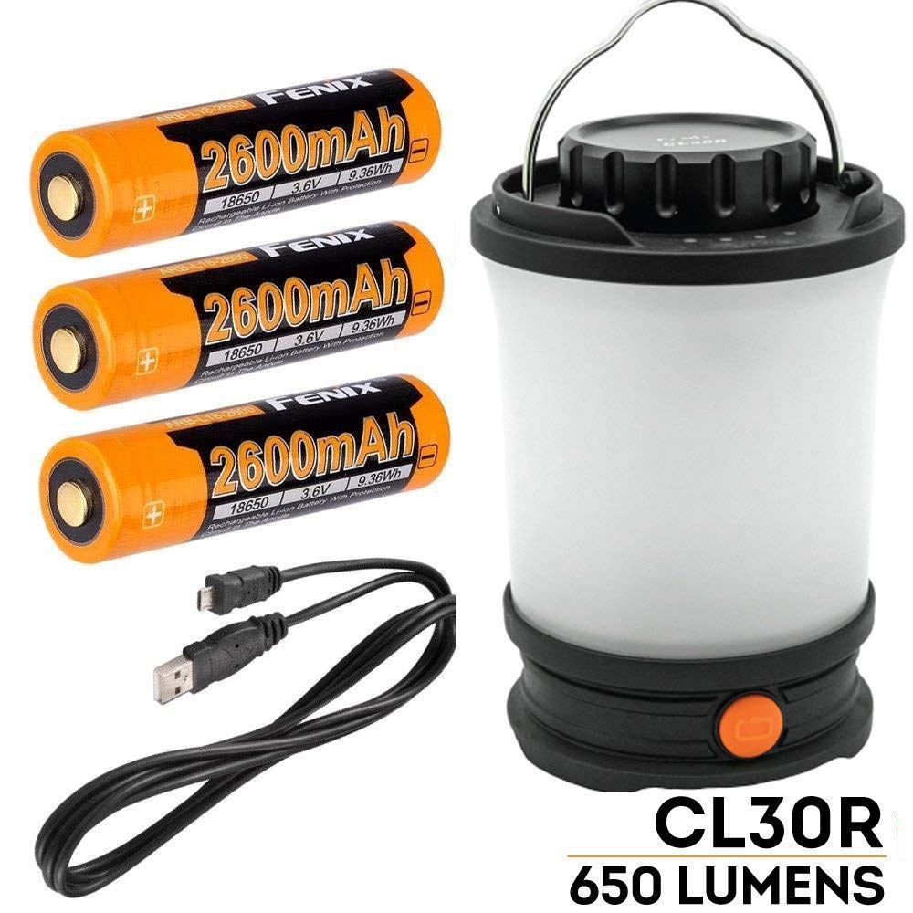 Fenix CL30R 650 люмен USB Перезаряжаемый фонарь для кемпинга/рабочий светильник с 3X2600mAh 18650 перезаряжаемыми батареями