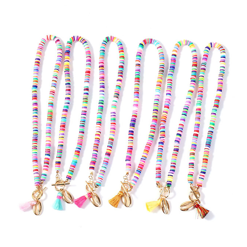 European and American simple Bohemian style sea star shell necklace with color rice Bead Necklace For Women Gift