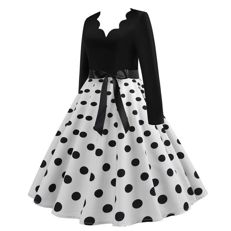 Women Long Sleeve Winter Vintage Dresses Sexy Black Music Note Print V-neck Rockabilly Pin up Party Dress Vestidos Plus size 552