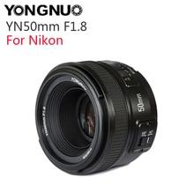 Светодиодная лампа для видеосъемки YONGNUO YN50mm F1.8 с фиксированным фокусным расстоянием большой апертурой Автофокус Объектив для Nikon D5300 D5200 D5100 D3300 D3200 D800 D700 D300 аксессуар для камеры DSLR