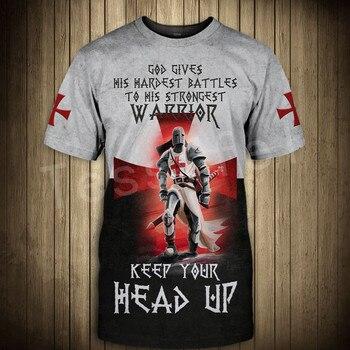 Tessffel cavalier Knights Templar Armor Causal Streetwear Harajuku 3DPrint Short Sleeve Summer Man's top T-shirt Men/Women A-2 2