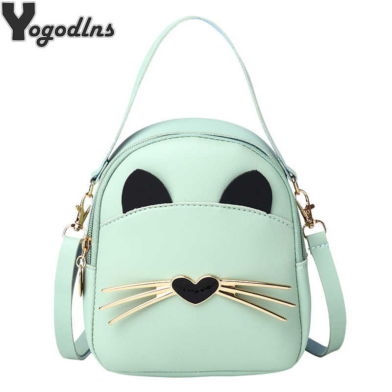Women PU Leather Backpack For Child Mini Small Backpack Girl School Bags Student Shoulder Crossbody Pack Women Cat Handbag Purse