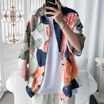цена Summer Flower Shirt Men's Fashion Printed Hawaiian Shirt Wild Casual Shirt Men Streetwear Loose Short Sleeve Shirt M-5XL онлайн в 2017 году