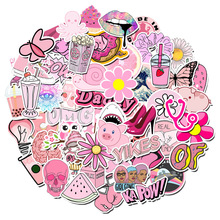 100PCS Cartoon Pink INS Style Vsco Girl Stickers For Laptop Moto Skateboard Luggage Refrigerator Notebook Laptop Toy Sticker
