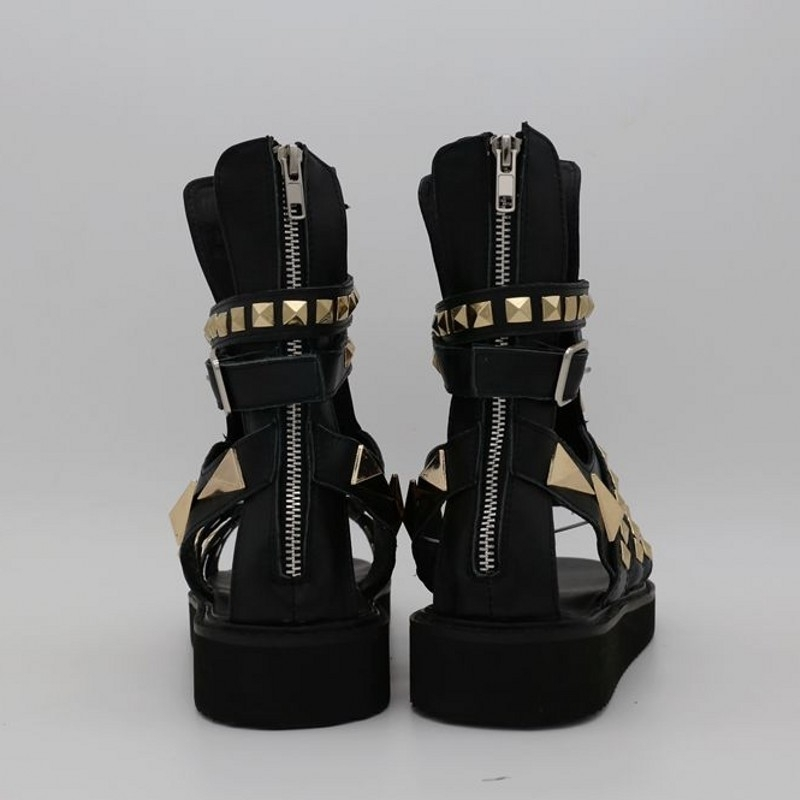 Summer High Top Mens Metal Rivets Gladiator Sandals Platform Flats Open Toes Real Leather Hollow Out Runway Shoes Beach Sandals