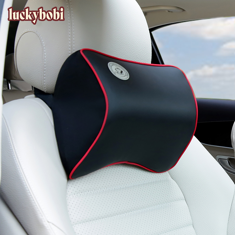 Car Neck Pillow 3D Memory Foam Cushion Washable Head Support Leather Car Seat Pillows Back Cushion For Office Chair Universal