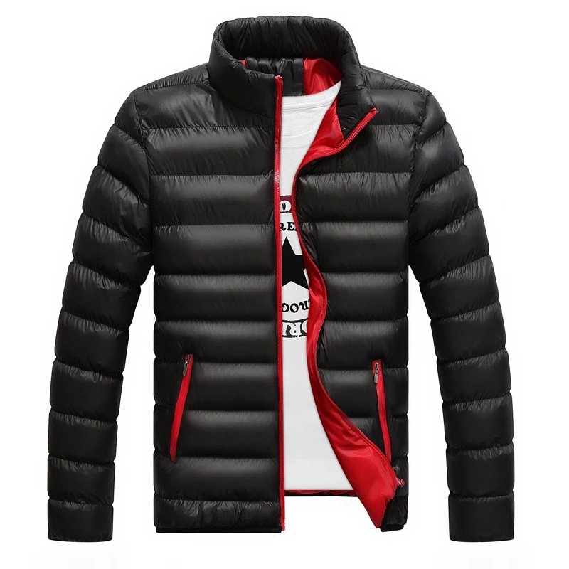 MEN'S Cotton-padded Coat 2019 Winter Stand Collar Casual Large Size Cotton Coat Solid Color Down Feather Cotton-padded Jacket Th