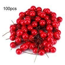 100 Pcs 1/1.5/2cm Artificial Foam Red Holly Berry Christmas DIY Home Garden Decorations Wedding Supplies Gift