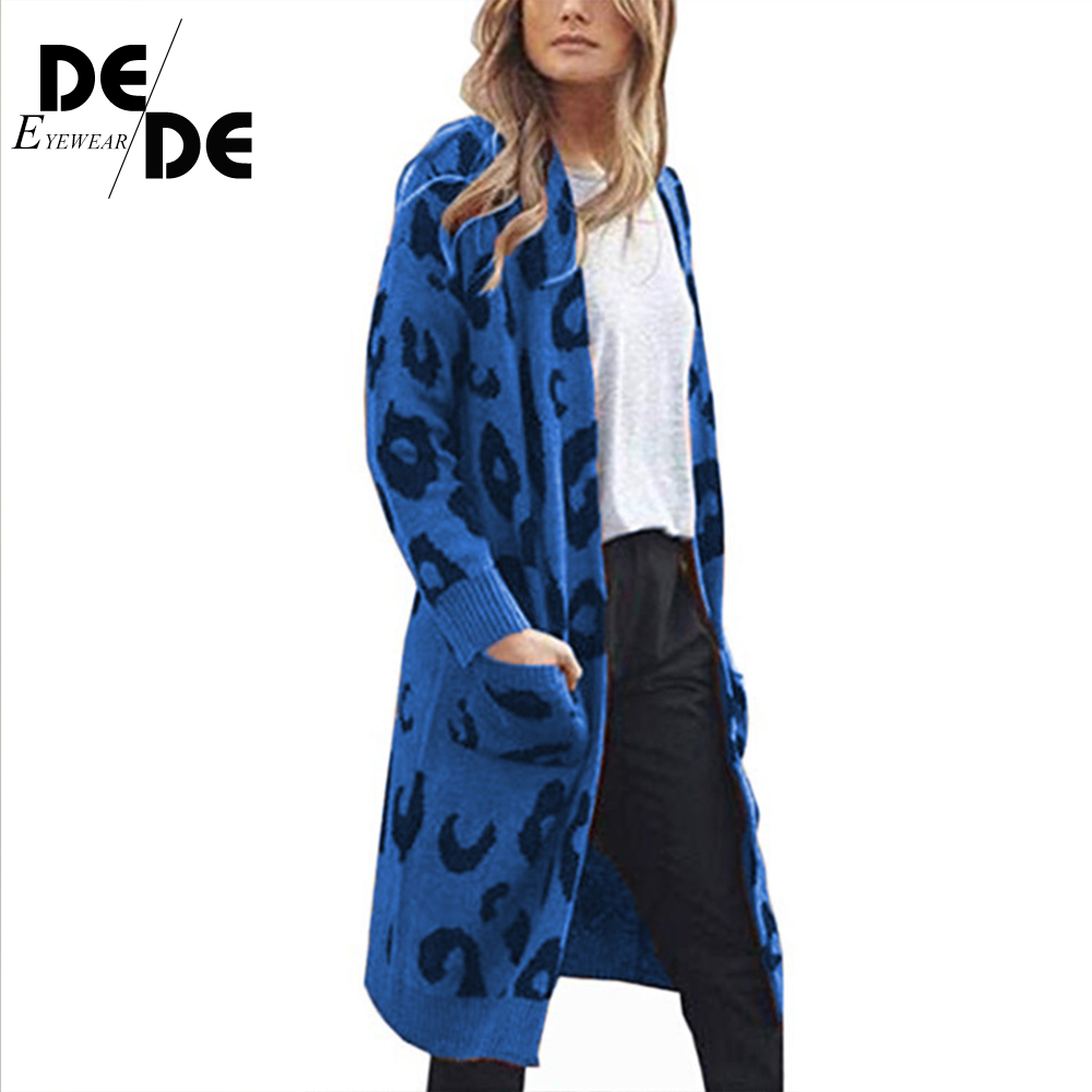 2019 AutumnFashion Women Knitted Leopard Print cardigan women Long Sleeve long Sweater Coat  Loose Clothes